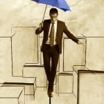Business man in equilibrium over illustrated city