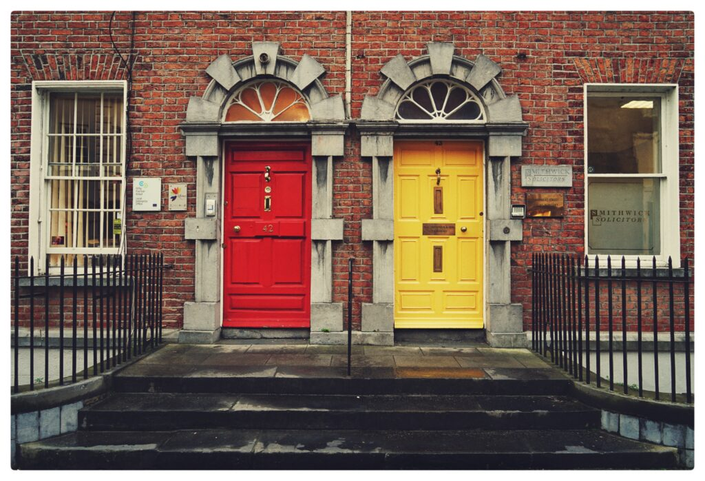 a red and yellow door to represent offering alternative ways