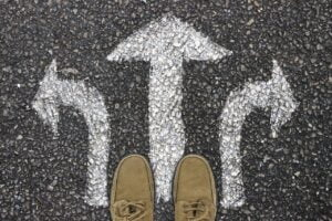 arrows on the floor to symbolise giving choices when thinking about how to say no to a partner