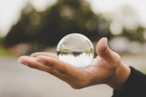 a crystal ball to symbolise predicting disasters as one of the tips on pitching