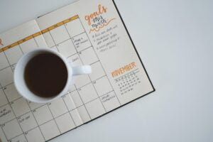monthly planner to symbolise planning to move your career forward