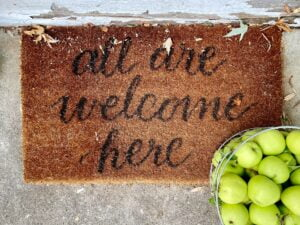 a door mat to symbolise not letting colleagues walk all over you