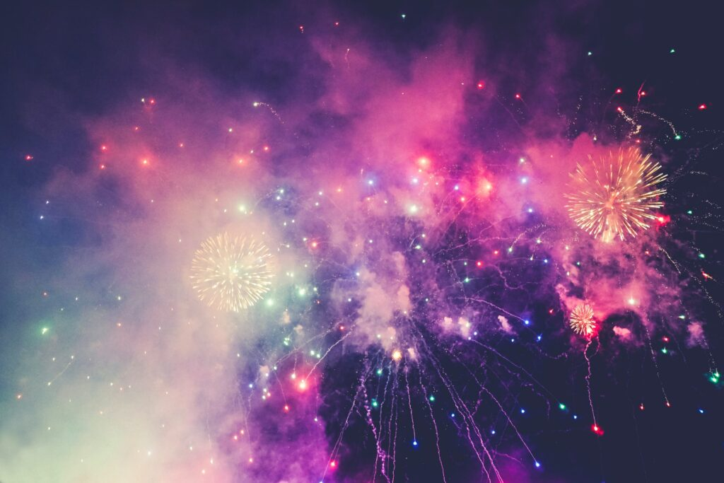 fireworks to represent this year being the year to move your career forward