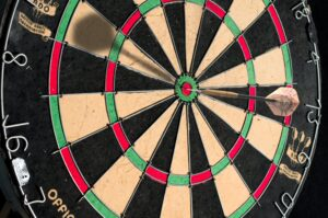 a dart board to represent knowing your progress against your targets if you want to act like a partner