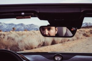 rearview mirror to represent looking back at progress