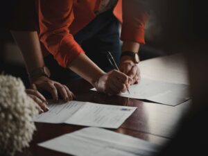 signing the partnership agreement after you do your due diligence on a firm