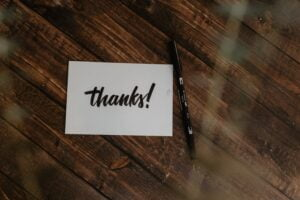 a note saying thanks