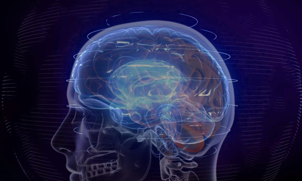 a luminescent image of the head and brain to represent how to embrace change in the workplace