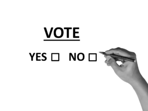 yes or no boxes to represent the partnership vote